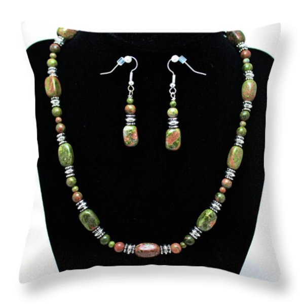 3565 Unakite Necklace And Earrings Set Throw Pillow by Teresa Mucha