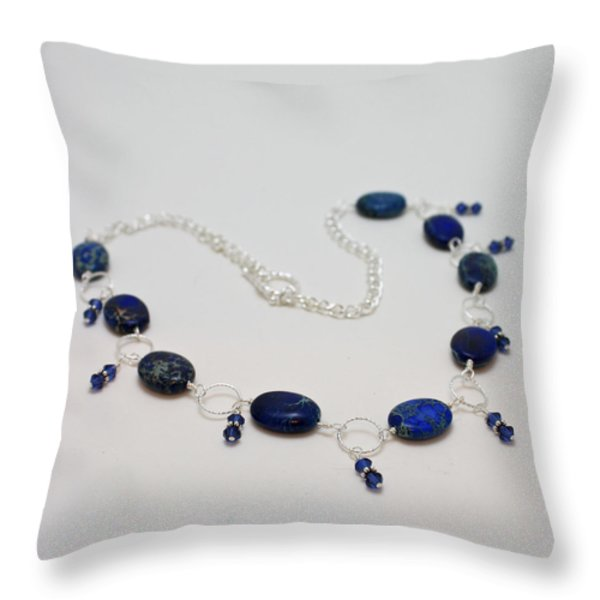 3589 Blue Sea Sediment Jasper Necklace Throw Pillow by Teresa Mucha