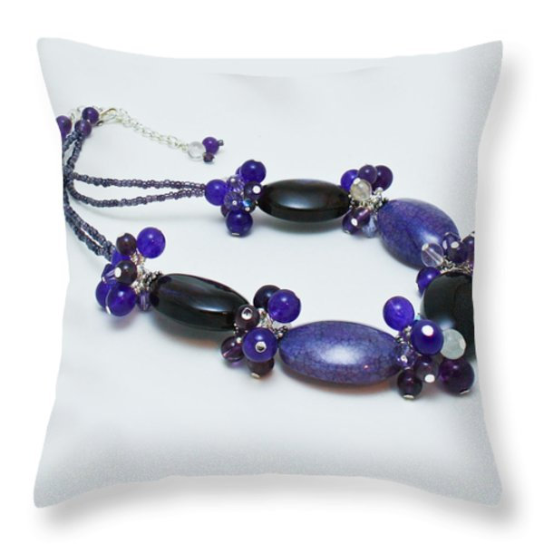 3598 Purple Cracked Agate Necklace Throw Pillow by Teresa Mucha