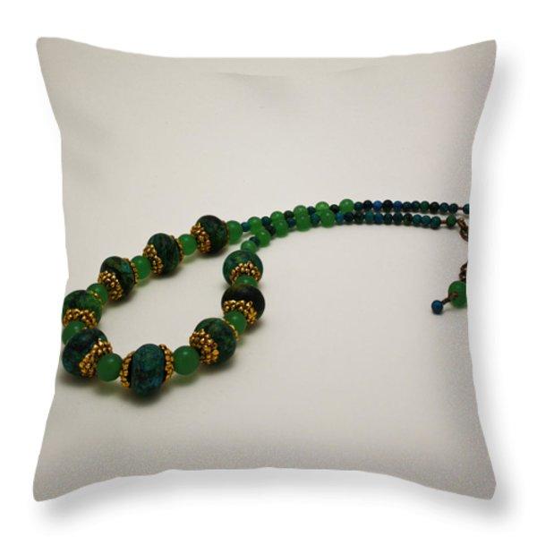 3616 Austrailian Jasper And Adventurine Necklace Throw Pillow by Teresa Mucha