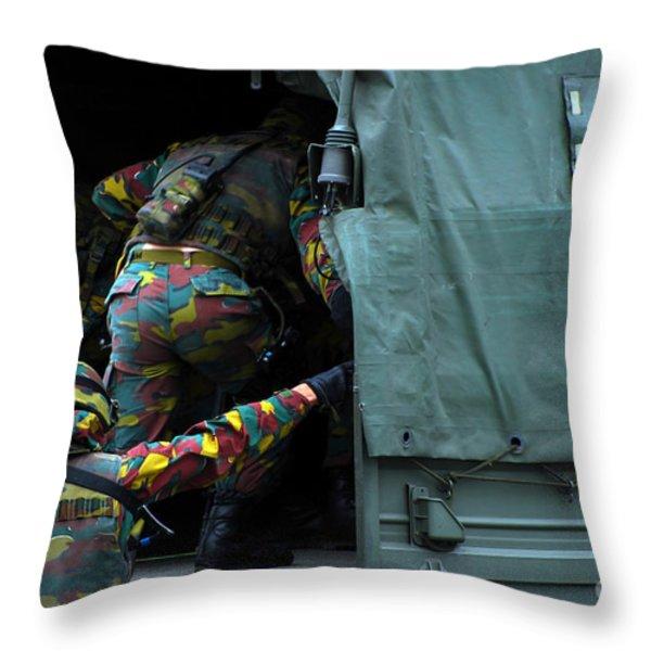 Belgian Paracommandos Entering Throw Pillow by Luc De Jaeger