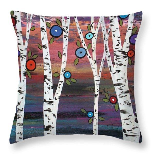 4 Birches Throw Pillow by Karla Gerard