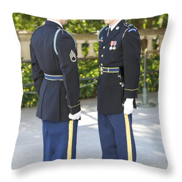 Changing Of Guard At Arlington National Throw Pillow by Terry Moore