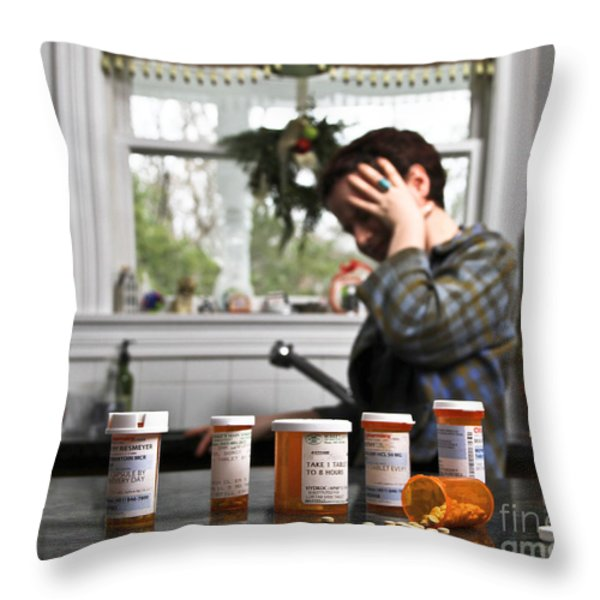 Depression And Addiction Throw Pillow by Photo Researchers, Inc.