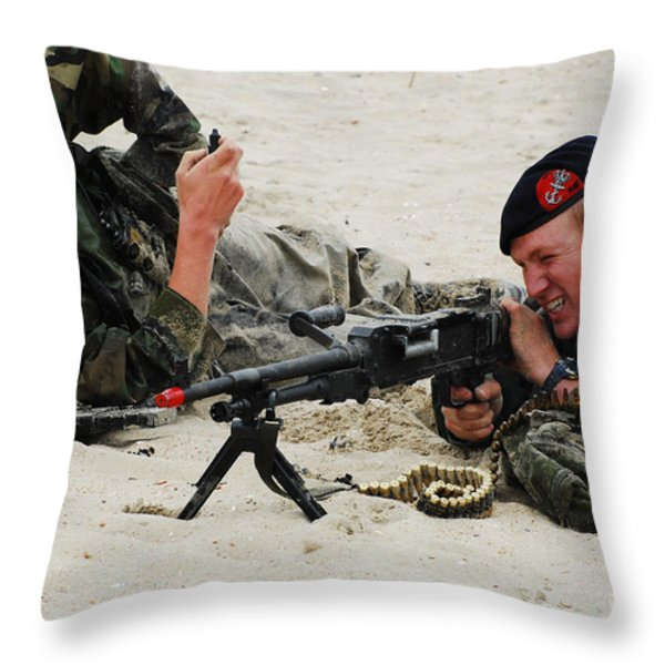 Dutch Royal Marines Taking Part Throw Pillow by Luc De Jaeger