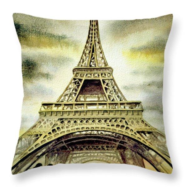 Eiffel Tower Paris Throw Pillow by Irina Sztukowski