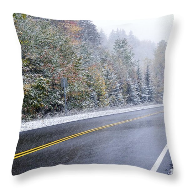 Fall Color And Snow Along The Highland Scenic Highway Throw Pillow by Thomas R Fletcher