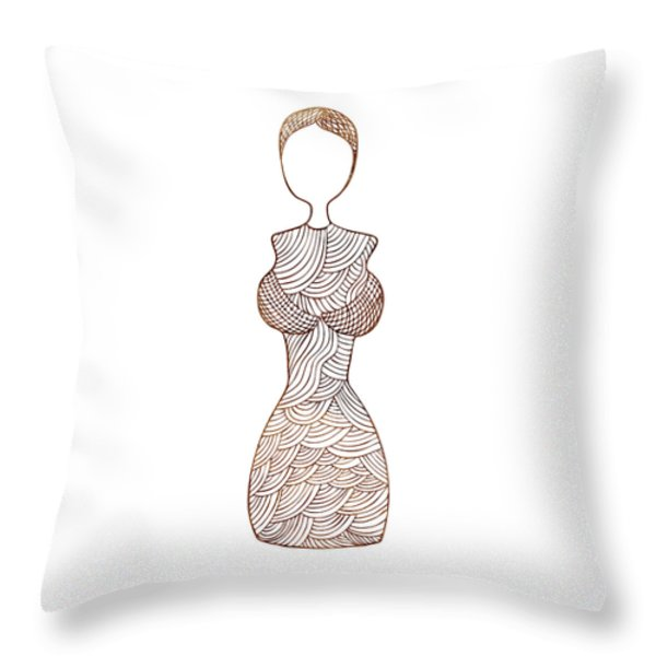 Fashion sketch Throw Pillow by Frank Tschakert