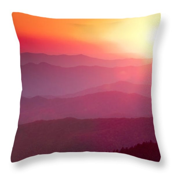 Great Smokie Mountains Sunset Throw Pillow by Dustin K Ryan
