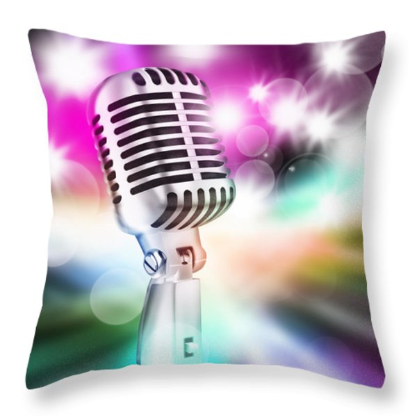 microphone on stage Throw Pillow by Setsiri Silapasuwanchai