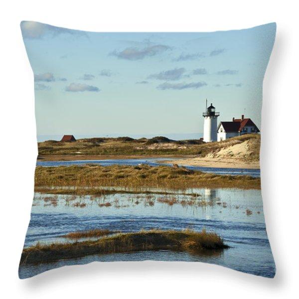 Race Point Lighthouse Throw Pillow by John Greim