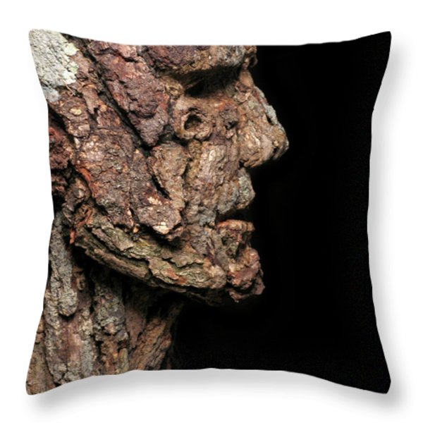 Revered  A natural portrait bust sculpture by Adam Long Throw Pillow by Adam Long