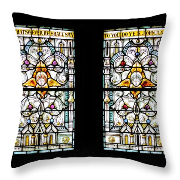 Stained Glass Window Throw Pillow by Rudy Umans