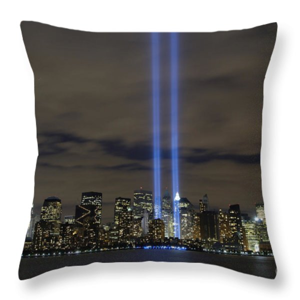 The Tribute In Light Memorial Throw Pillow by Stocktrek Images