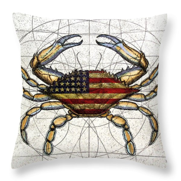 4th of July Crab Throw Pillow by Charles Harden