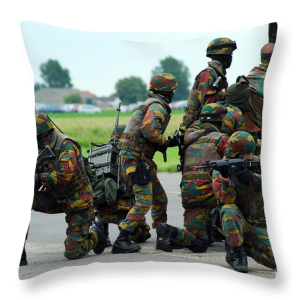 Belgian Paracommandos Entering Throw Pillow by Luc De Jaeger