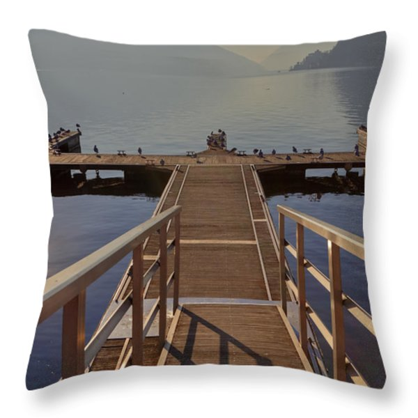 Lago di Lugano Throw Pillow by Joana Kruse