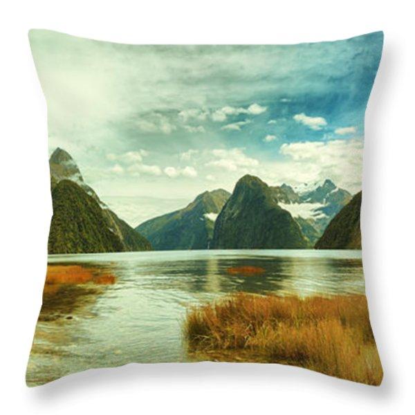 Milford Sound Throw Pillow by MotHaiBaPhoto Prints