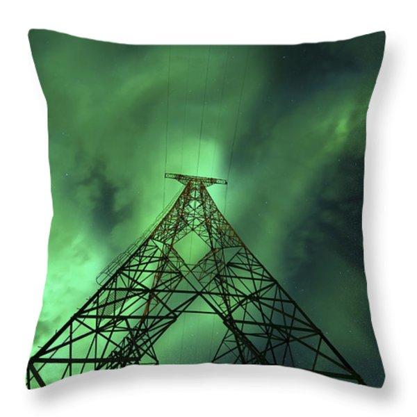 Powerlines And Aurora Borealis Throw Pillow by Arild Heitmann