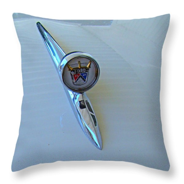 57 Fairlane 500 Emblem Throw Pillow by Nick Kloepping