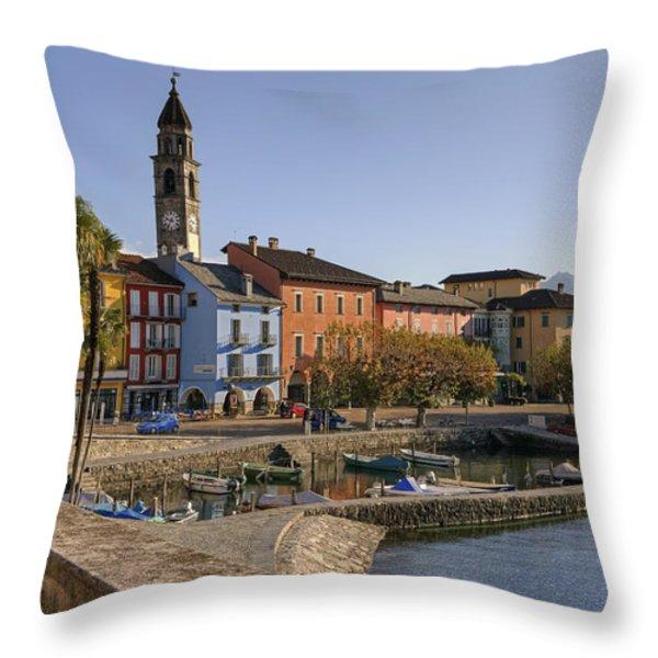 Ascona - Lake Maggiore Throw Pillow by Joana Kruse