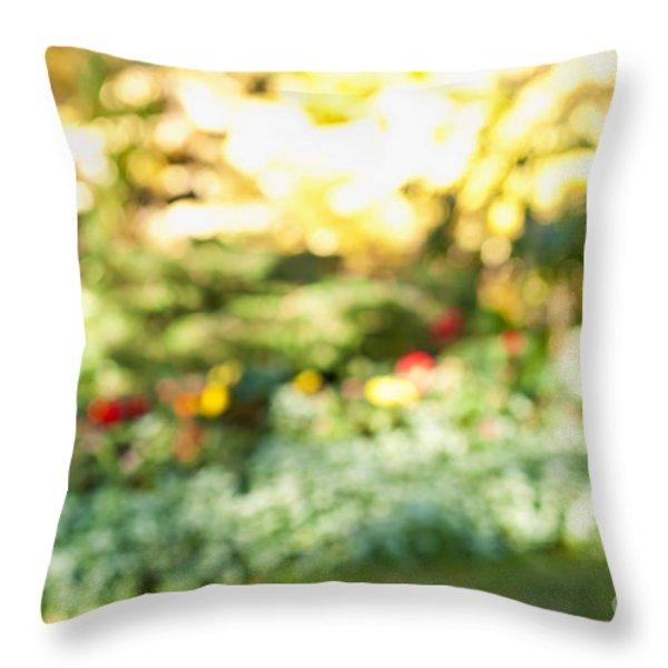 Flower Garden In Sunshine Throw Pillow by Elena Elisseeva