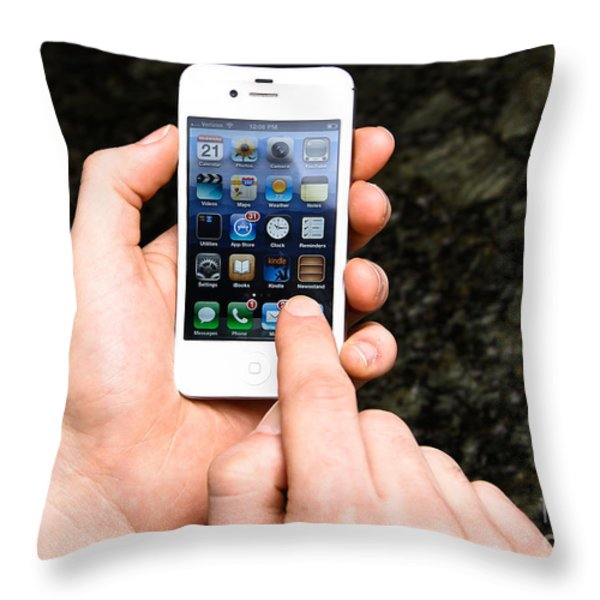 Hands Holding An Iphone Throw Pillow by Photo Researchers, Inc.