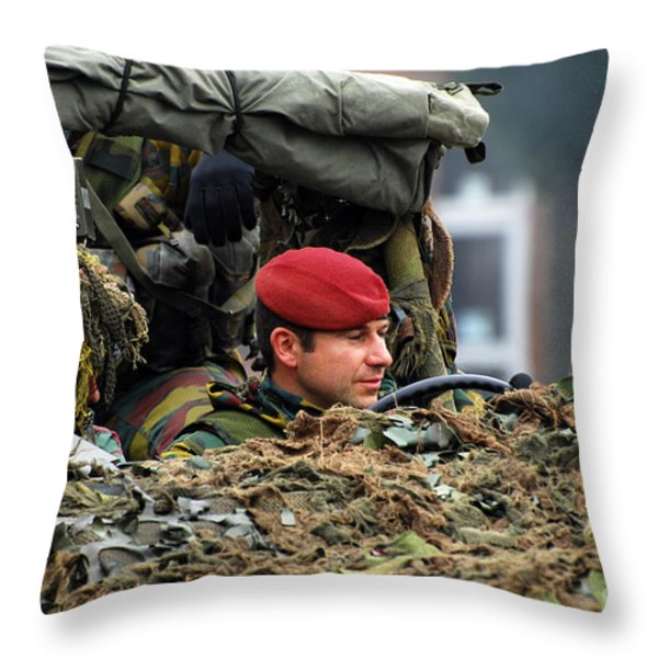Members Of A Recce Or Scout Team Throw Pillow by Luc De Jaeger
