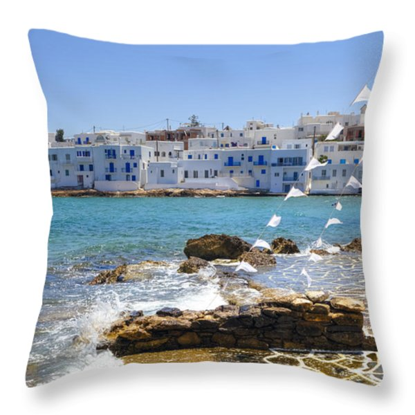 Paros - Cyclades - Greece Throw Pillow by Joana Kruse