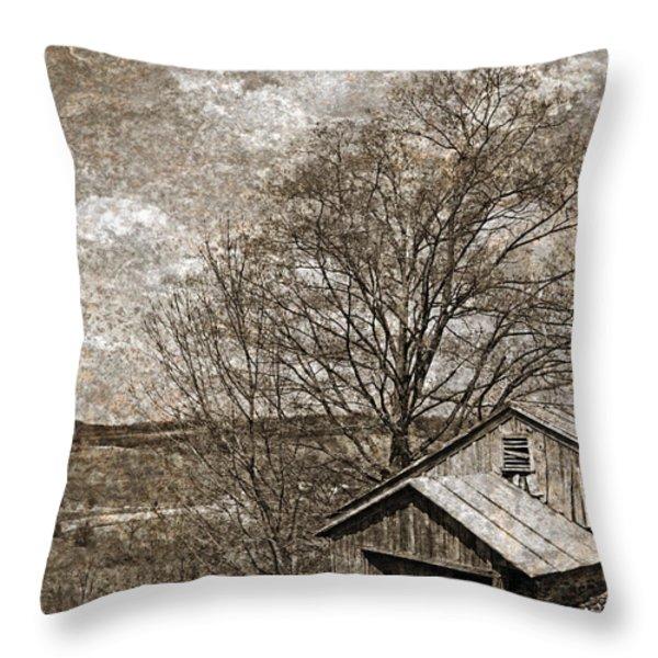 Rustic Hillside Barn Throw Pillow by John Stephens
