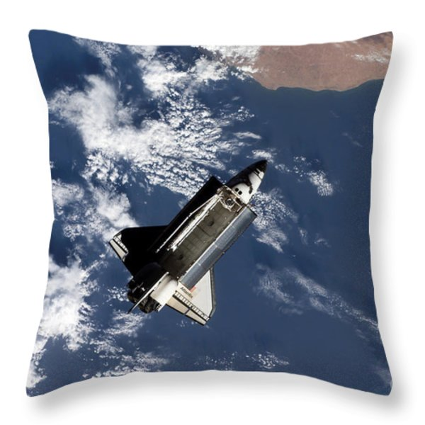 Space Shuttle Atlantis Throw Pillow by Stocktrek Images