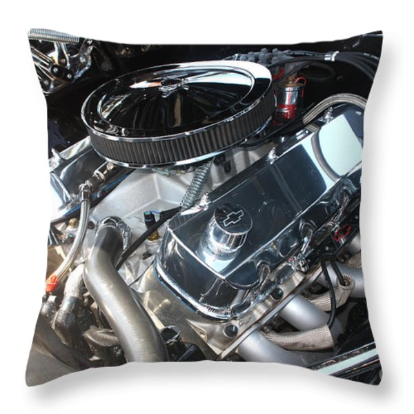 67 Black Camaro Ss 396 Engine-8033 Throw Pillow by Gary Gingrich Galleries