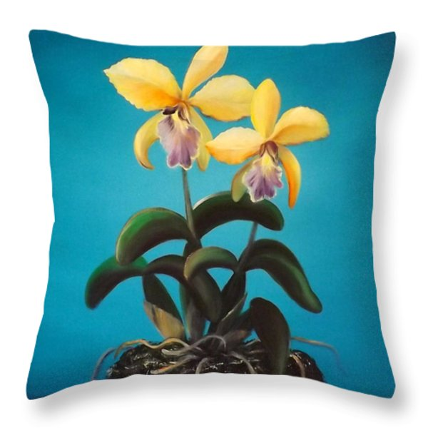 Throw Pillows - Orchids Throw Pillow by Gina De Gorna