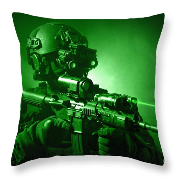 Special Operations Forces Soldier Throw Pillow by Tom Weber