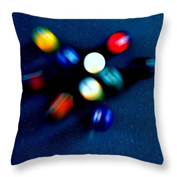 9 Ball Break Throw Pillow by Nick Kloepping
