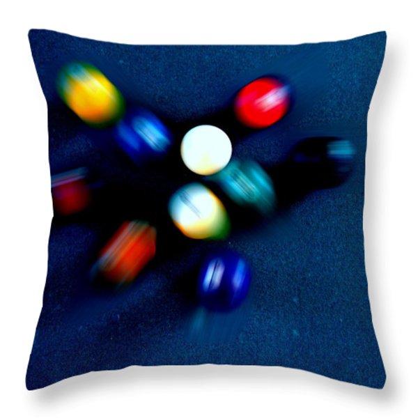 9 Ball Break Throw Pillow by Nick Kloepping