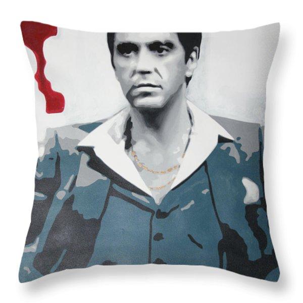 Scarface Throw Pillow by Luis Ludzska