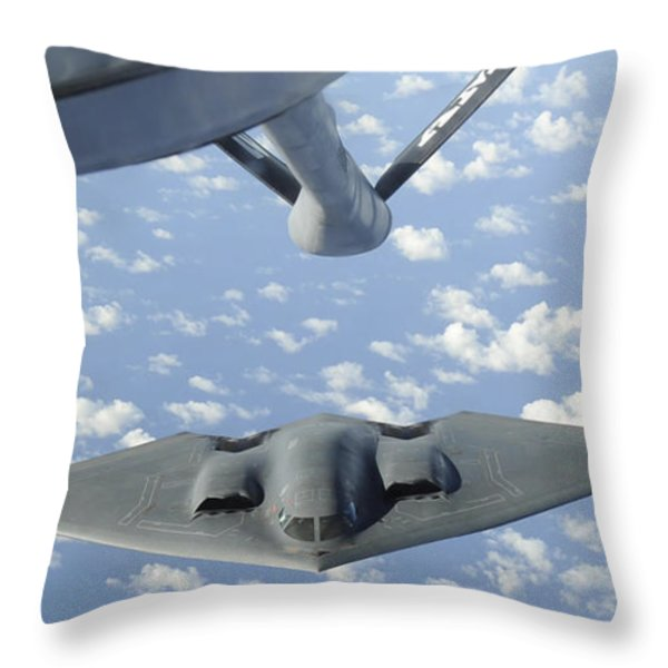 A B-2 Spirit Approaches The Refueling Throw Pillow by Stocktrek Images