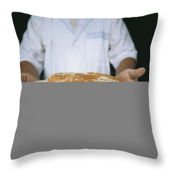 A Baker Shows His Fresh Loaves Throw Pillow by Heather Perry