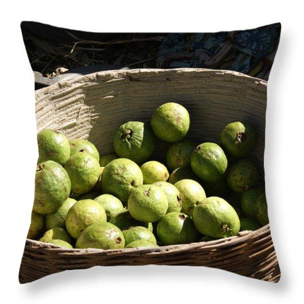 A Basket Full Of Guavas Just Outside Bhopal Throw Pillow by Ashish Agarwal