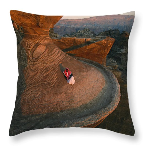 A Bedouin Surveys The View Throw Pillow by Annie Griffiths