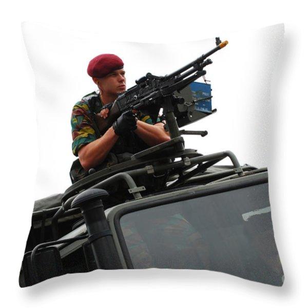 A Belgian Paratrooper Manning A Fn Mag Throw Pillow by Luc De Jaeger