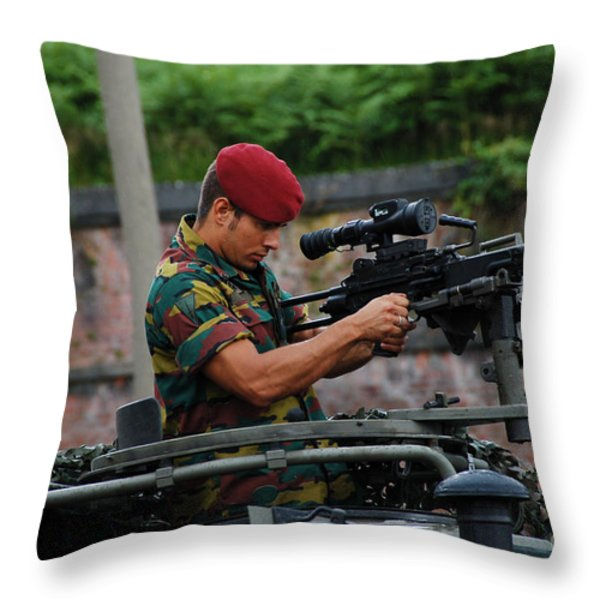 A Belgian Paratrooper Of The 1st Throw Pillow by Luc De Jaeger