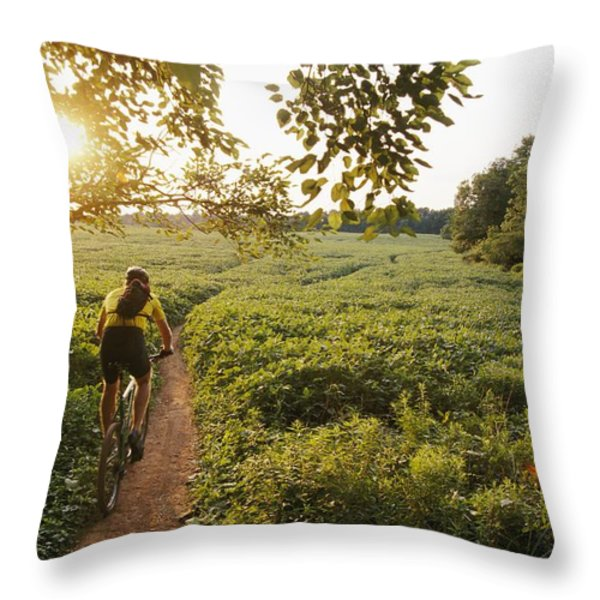 A Bicyclist Rides On A Path Throw Pillow by Skip Brown