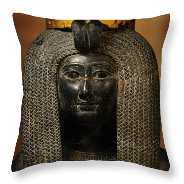 A Black Grantie Statue Of Isis Throw Pillow by Kenneth Garrett