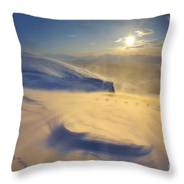 A Blizzard On Toviktinden Mountain Throw Pillow by Arild Heitmann