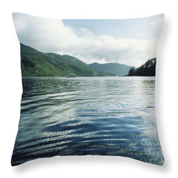 A Boat Plies The Gentle Waters Throw Pillow by Bill Curtsinger