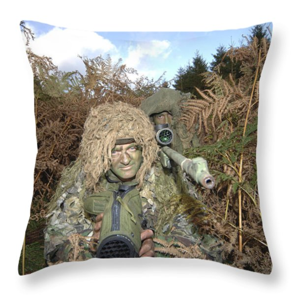 A British Army Sniper Team Dressed Throw Pillow by Andrew Chittock