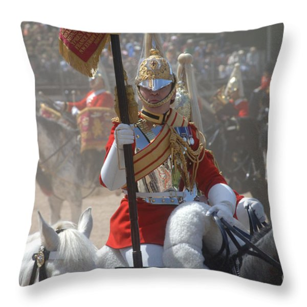 A British Life Guard Of The Household Throw Pillow by Andrew Chittock