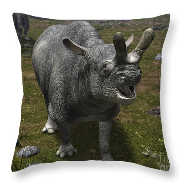 A Brontotherium Leaves His Forest Throw Pillow by Walter Myers